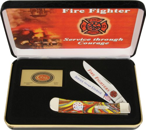 Case Cutlery CAT-FF Case's Fire Fighter Fire in the Box Corelon Handel Trapper Pocket Knife with Tru Sharp Surgical Steel Blades, (Surgical Steel Knives)