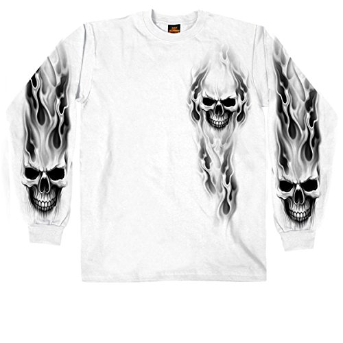 Hot Leathers Men's Ghost Skull Long Sleeve Shirt (White, X-Large)
