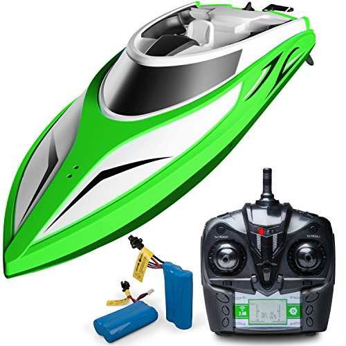 "Force1 RC Boat Pool Toys - ""Velocity Wave"" High Speed Remote Control Boat with Extra Battery + Toy Boat Capsize Recovery for Fast RC Boat Stability"