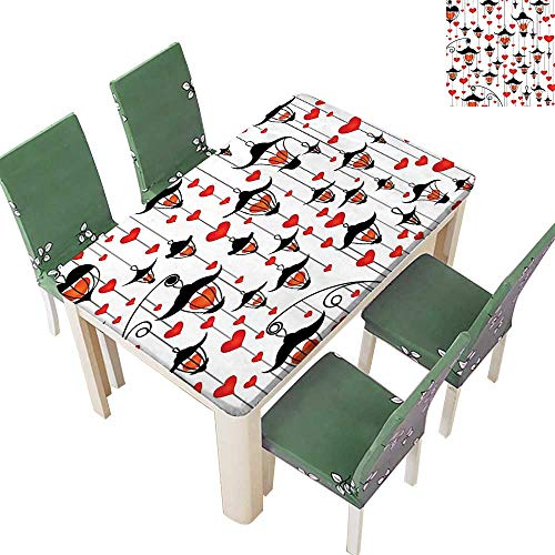 Printsonne 100% Polyester Tablecloth and He Valentin Day Lamp Ative Classic Antique Resistant and Waterproof 52 x 108 Inch (Elastic - Italian Lamp Horn
