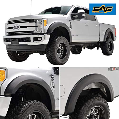 (EAG Fender Flares Textured Satin Black 4PCS Fit for 17-18 Ford Super Duty F250/F350)