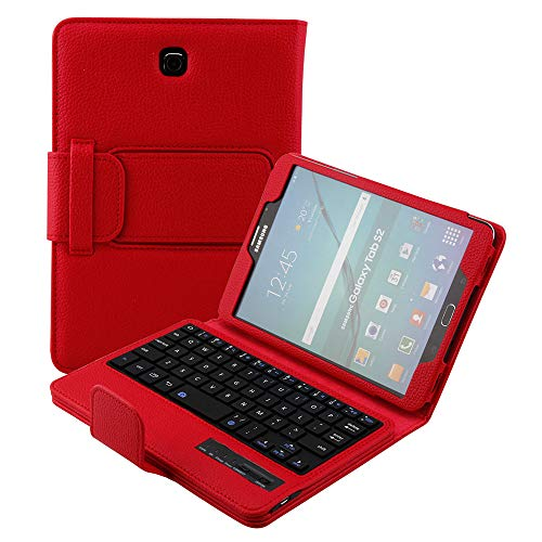 Smart Keyboard Case for Samsung Galaxy Tab S2 8.0, Galaxy SM-T710 Keyboard Case, Kickstand Magnetic Leather Rugged Protective Cover Folio with Detachable Wireless Bluetooth Keyboard T715/T713 (Red)