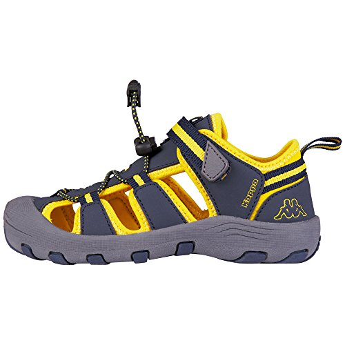 Kappa Unisex-Kinder Downey Kids Sandalen Blau (6740 NAVY/YELLOW)