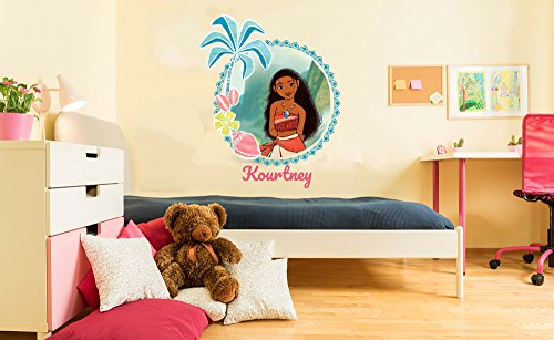"Custom Name - Princess Moana - Moana Movie Theme - Girl - Wall Decal Nursery For Home Bedroom Children (23"" Wide x 30"" Height)"