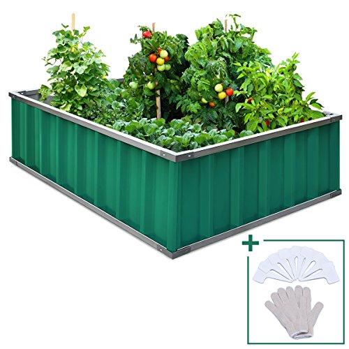 Extra-thick 2-Ply Reinforced Card Frame Raised Garden Bed Kingbird Galvanized Metal Planter Kit Box Garden Jade-Green 46
