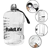 1 Gallon Hydration Bottle Daily Water Tracker-Time Marked to Ensure You Drink 128 Ounces of Water Throughout The Day. Make Sure You Stay Hydrated (Clear)