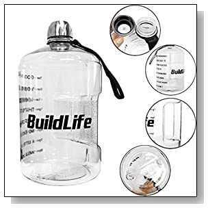 1 Gallon Water Bottle Motivational Fitness Workout with Time Marker |Drink More Water Daily | Clear BPA-Free | Large 128 Ounce/43OZ of Water Throughout The Day (1 gallon-transparent, 1 gallon)