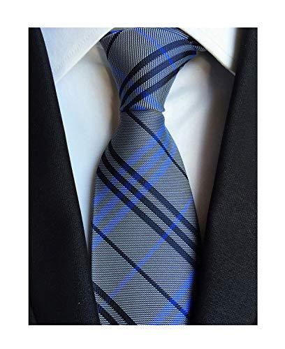 Men's Blue Grey Ties Trendy Tartan Plaid Narrow-width Wedding Necktie for Grooms