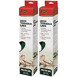 (2 Pack) Zilla Reptile Terrarium Bedding Substrate Liner, Green - 29 Gallon