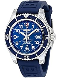 Superocean II 42 Automatic Blue Dial Blue Rubber Strap Mens Watch A17365D1-C915BLPT3. Breitling