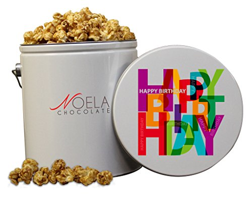 Noela Chocolate Gourmet Popcorn 1 Gallon tin Caramel Happy Birthday Collage