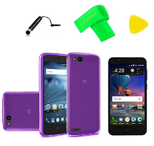 TPU Flexible Gel Skin Cover Phone Case + Screen Protector + Extreme Band + Stylus Pen + Pry Tool For ZTE ZFive G C Z557BL Z558VL (TPU - Purple) ()