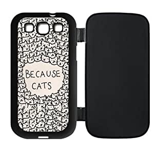 Because Cats Protective Leather Hard Flip Cover Case for SamSung Galaxy S3