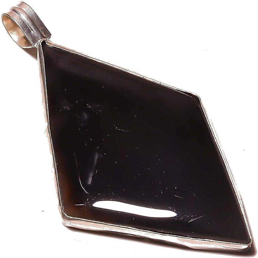 Modern Black Botswana Agate Handmade Sterling Siver Plated Pendant 2.25 Stylish! Pocketfriendly Unisex!