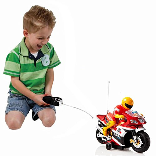 Radio Controlled Racing (Red and Gold 'Speed Demon' Electric Radio Remote Controlled Racing Motorcycle with Driver, Lights & Sound Effects by)