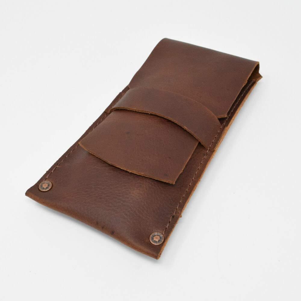 Handmade Mahogany Kodiak Holds 3 Standard Cigars Leather Cigar Case Pouch Shotgun Shell-Style Rivets Full-Grain Leather