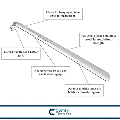 Comfy Clothiers 18-Inch Long Handled Stainless Steel Shoe Horn