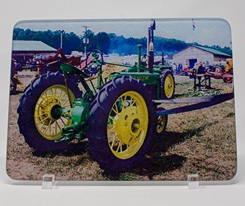 Vintage John Deere Tractor Glass Cutting Board (John Deere Serving Tray)