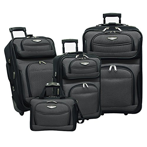 (Traveler's Choice Amsterdam 4-Piece Luggage Set, Gray)
