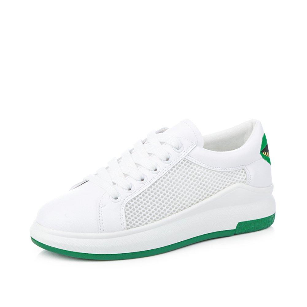 Grueso Zapato Blanco,Malla Transpirables Zapatillas,Coreano Versión Femenina De Zapatos De La Plataforma,Zapatos Del Estudiante Del Bromista Del-A Longitud del pie=22.8CM(9Inch)