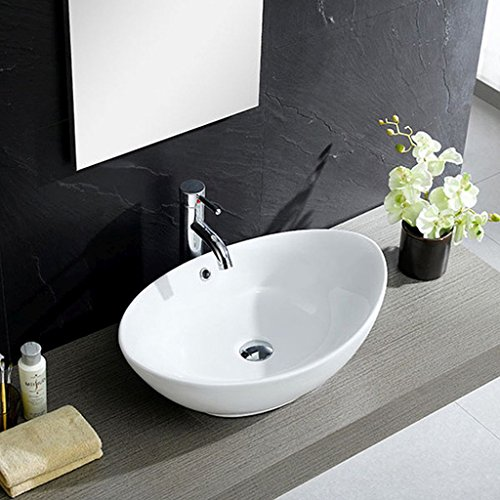 White Vitreous China Oval Vessel Sink - Smooth Lines In This Oval Vessel Sink Provide A Unique And Transforming Sense Of Artistry And Class