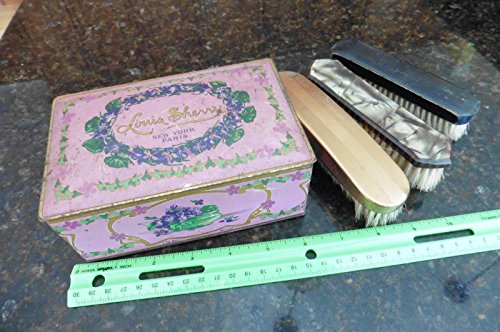 Sherry Chocolate - Vintage Louis Sherry NY Paris Tin Hinged Candy Tin Box w/ 3 Vanity Brushes