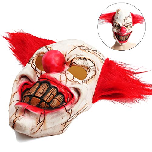 OWUDE Scary Clown Mask, Horror Creepy Latex Clown Masks Adult Haunted House Dressing Halloween Costume Masquerade Party Cosplay Props (Rotten Face Clown) -