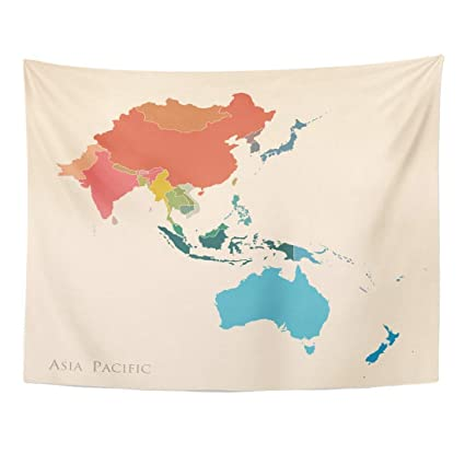 Map Of The Asia Pacific.Amazon Com Seenpin Tapestry Blue East Map Asia Pacific Vintage