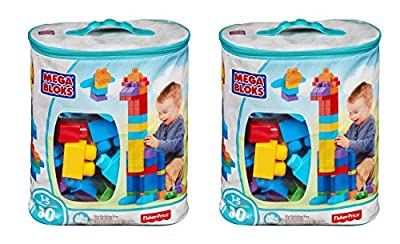 Mega Bloks KmdTwJ 80 Piece Big Building Bag, Classic, Blue, 2 Units