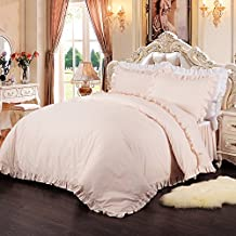 Simple&Opulence 100% Cotton Percale Pink Plain Flouncing Girl Bedding Set Queen Twin Quilt King Duvet Cover Set Including 1 Duvet Cover and 2 Pillowcases (Queen)