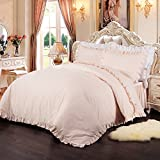 Simple&Opulence 100% Cotton Percale 250TC Pink Plain Flouncing Girl Bedding Set Queen Twin Quilt King Duvet Cover Set Including 1 Duvet Cover 2 Pillowcases (Pink,King)