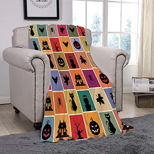 SCOCICI Super Soft Throw Blanket/Vintage Halloween,Bats Cats Owls Haunted Houses in Squraes Halloween Themed Darwing Art Decorative,Multicolor/for Couch Bed Sofa for Adults Teen Girls Boys -