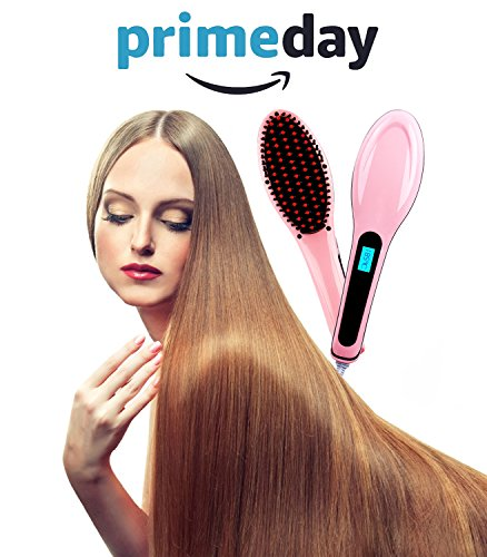Hair Straightener Hair Brush Digital Anti Scald Anti Static Ceramic Heating Detangling Brush for Instant Magic Silky Straight Massage Straightening Iron Pink for All Hair Nurse Care (Pink2)