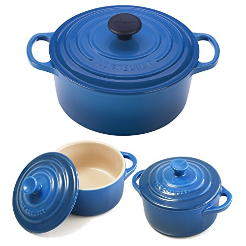 Le Creuset Signature Marseille Blue Enameled Cast Iron 4.5 Quart Round French Oven with 2 Free Stoneware Cocottes