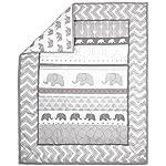 Elephant-Walk-4-Piece-Jungle-Geometric-Chevron-Grey-Baby-Crib-Bedding-Set-by-Belle