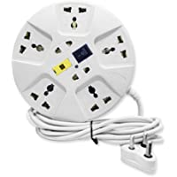 Elove 6 Amp Multi Plug Point Extension Cord (White)
