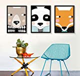 Fotorahmen TONGTONG SHOP Cartoon Abstract Triptych, Solid Wood Triptych Mural Combination,Bedroom Study Sofa Wall Hanging Paintings Deco Photo Wall (Size : 4060)