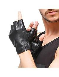 Men Fingerless Gloves - Nappaglo Lambskin Leather Half Finger Driving Outdoor