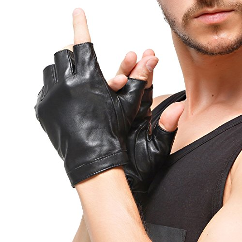 Nappaglo Men's Classic Fingerless Gloves Imported Lambskin Leather Silk Lining Half Finger Driving Cycling Outdoor Gloves (XXL (Palm Girth:9.5