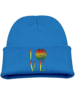Rasta Lion Love Jamaican Reggae Kid's Hats Winter Funny Soft Knit Beanie Cap, Unisex