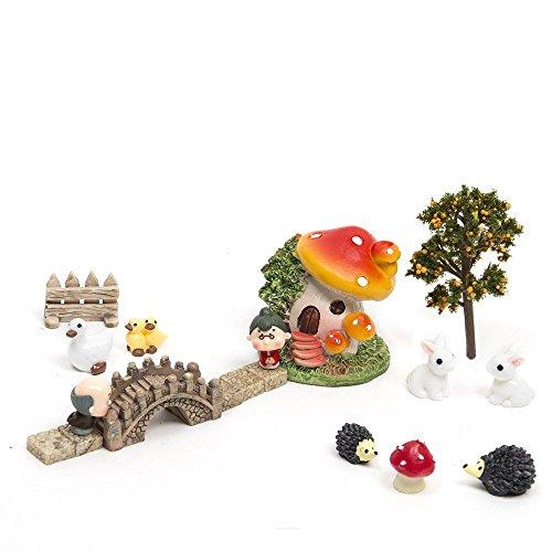 SecretRain 18 tlg.Miniatur Garten Deko Set Mini-Szene Ausschmückung Puppenstuben Pflanze Dekor als Geschenk