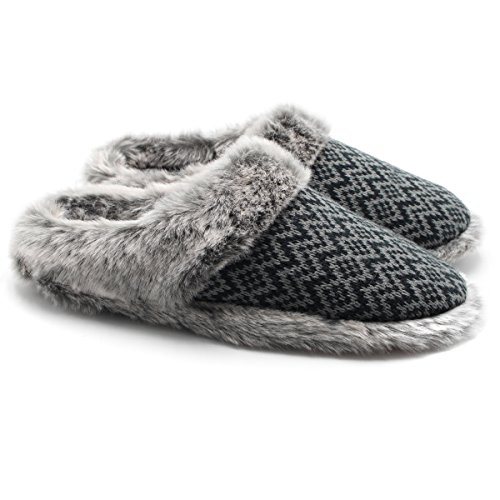 - ofoot Women's Cashmere Knit Slippers,Faux Fur Memory Foam Indoor/Outdoor Shoes Black/Grey