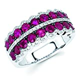 14K White Gold 2.33 Tgw. Ruby And Diamond Fashion Band Ring
