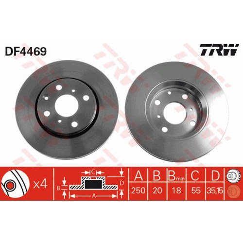 Trw Bremsscheiben /ø247mm Bremsbel/äge Set Vorne