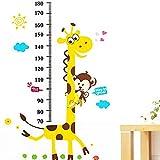 Large Growth Chart Height Stickers Animal Vinyl Peel Stick Mural Art Animal Wallpaper Children Baby Family Bedroom Living Room Nursery School Kindergarten Wall Decal Measure Height 180cm Height Chart