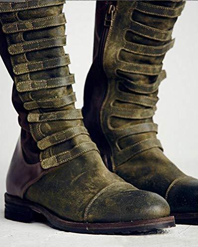 Longues Mode Femmes Roman Bottes Élégant Minetom Hiver Zipper Vert Automne Couleur Bloc Cheville Genou Bottes Chaussures Élastique SdCwXw
