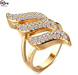 Dudee Jewelry Gold Plated Punk Hiphop Big Ring CZ Jewelry Gold Filled Personality Ring