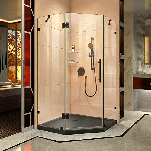 DreamLine Prism Lux 36 in. x 74 3/4 in. Fully Frameless Neo-Angle Shower Enclosure in Satin Black with Black Base (Best Neo Angle Shower Kit)
