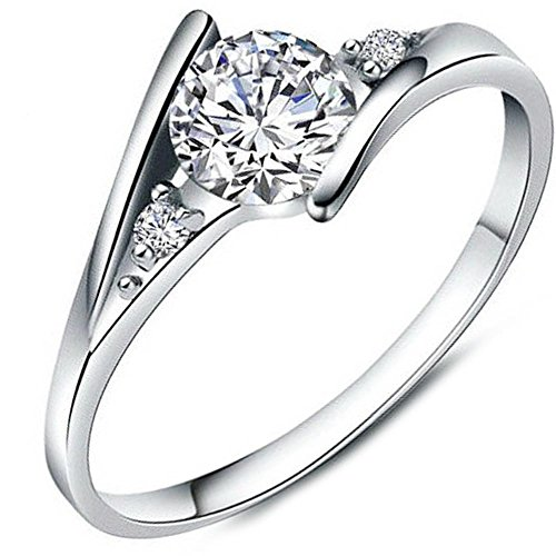Women's Charms White Cubic Zirconia Diamond Love Promise Cz Ring Engagement Wedding Bridal Eternity Bands 6