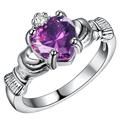 WIBERN Silver Plated Heart Shape Amethyst Crystal Stone Claddagh Ring, Charm Engagement Rings for Women (Sisters Birthstone Heart Ring)